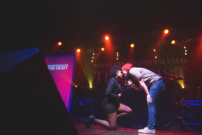 Same sex proposal on stage after Macklemore performed Same Love in Omaha.