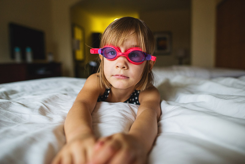 Girl with goggles on.