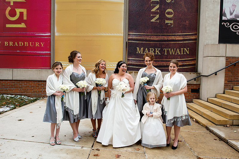 Bridal party picture by the downtown library in Kansas City.