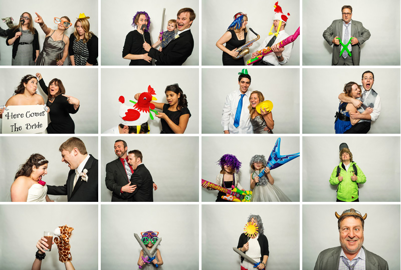 Fun Kansas City photo booth pictures at a wedding reception.