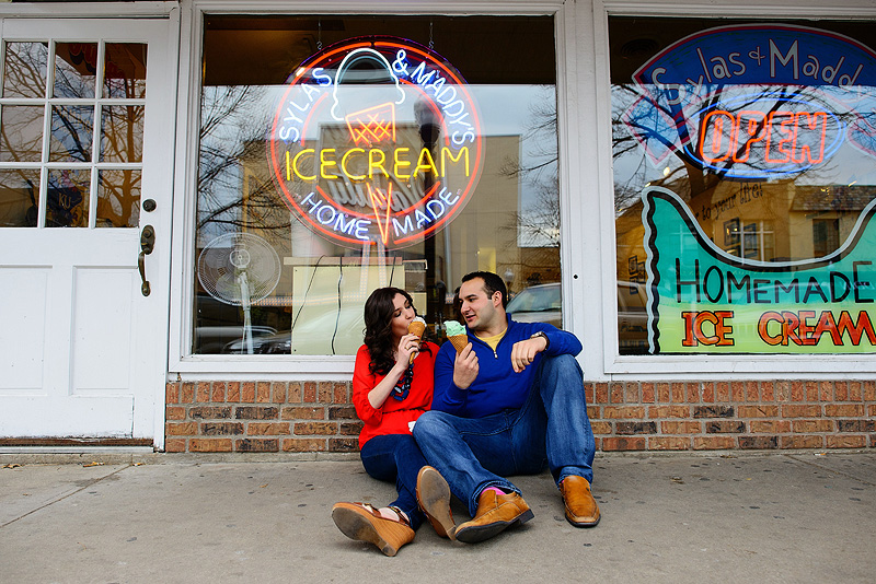 Couple sharing Sylas and Maddies ice cream in Lawrence.