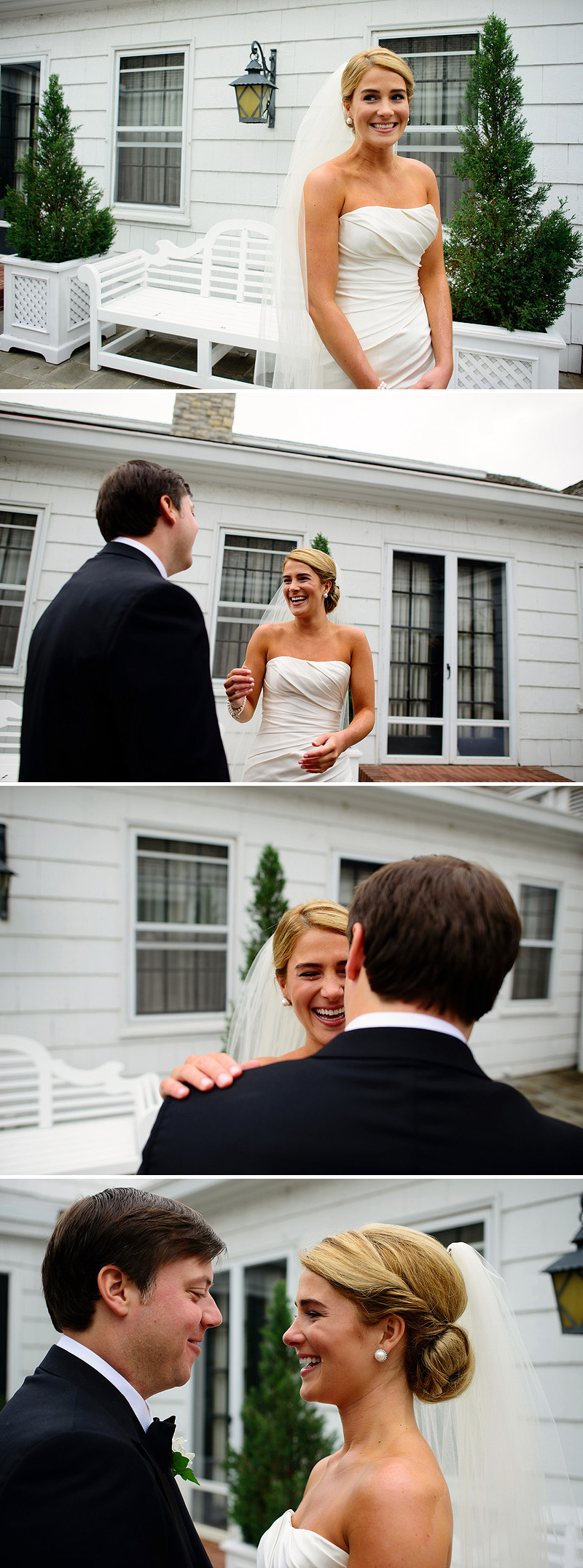 Emotional first moment between a happy bride and groom.