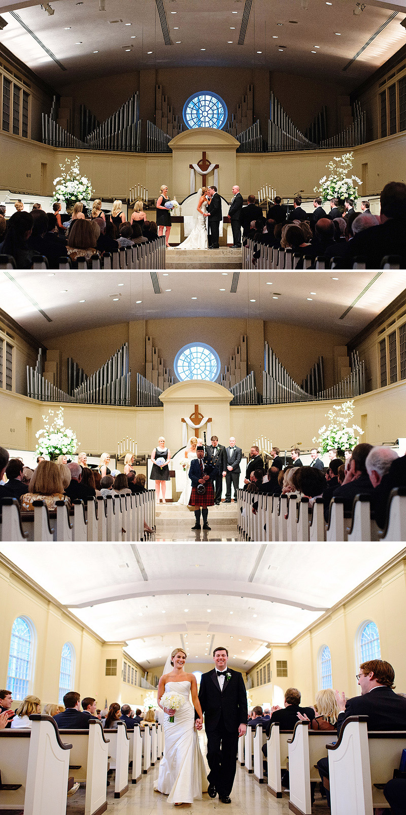 Beautiful Village Presbyterian Church wedding in Kansas City with babpipes.