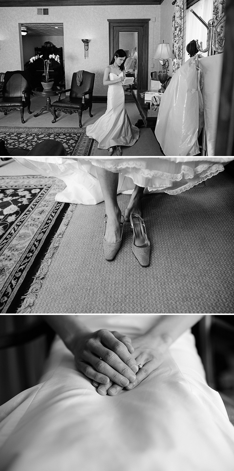 Bride getting ready for her wedding at Loose Mansion.