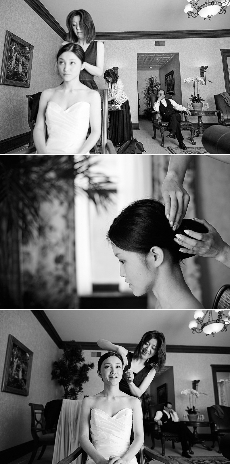 Bride getting her hair done at Loose Mansion before her wedding.