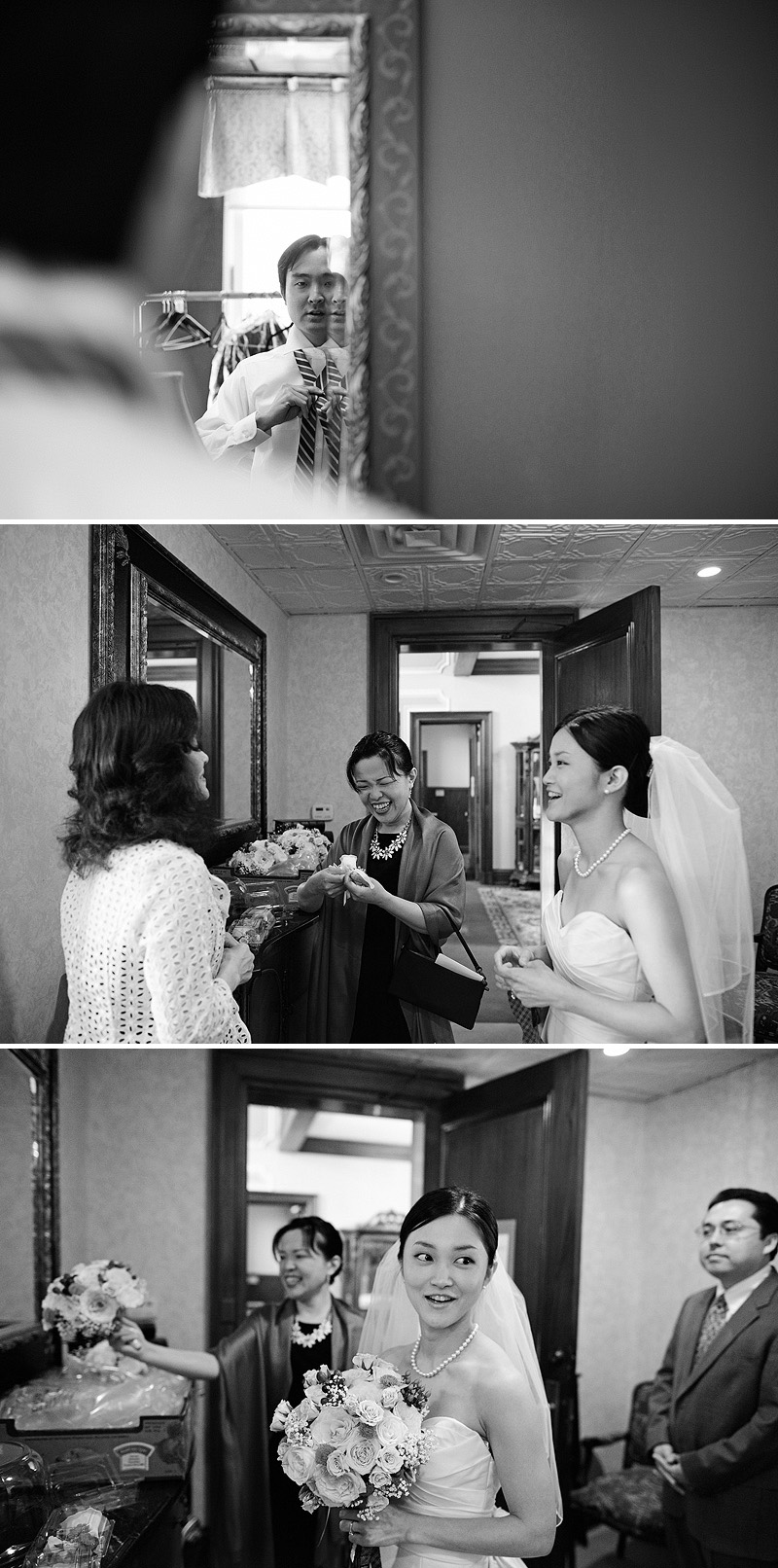 Laughter before a wedding.