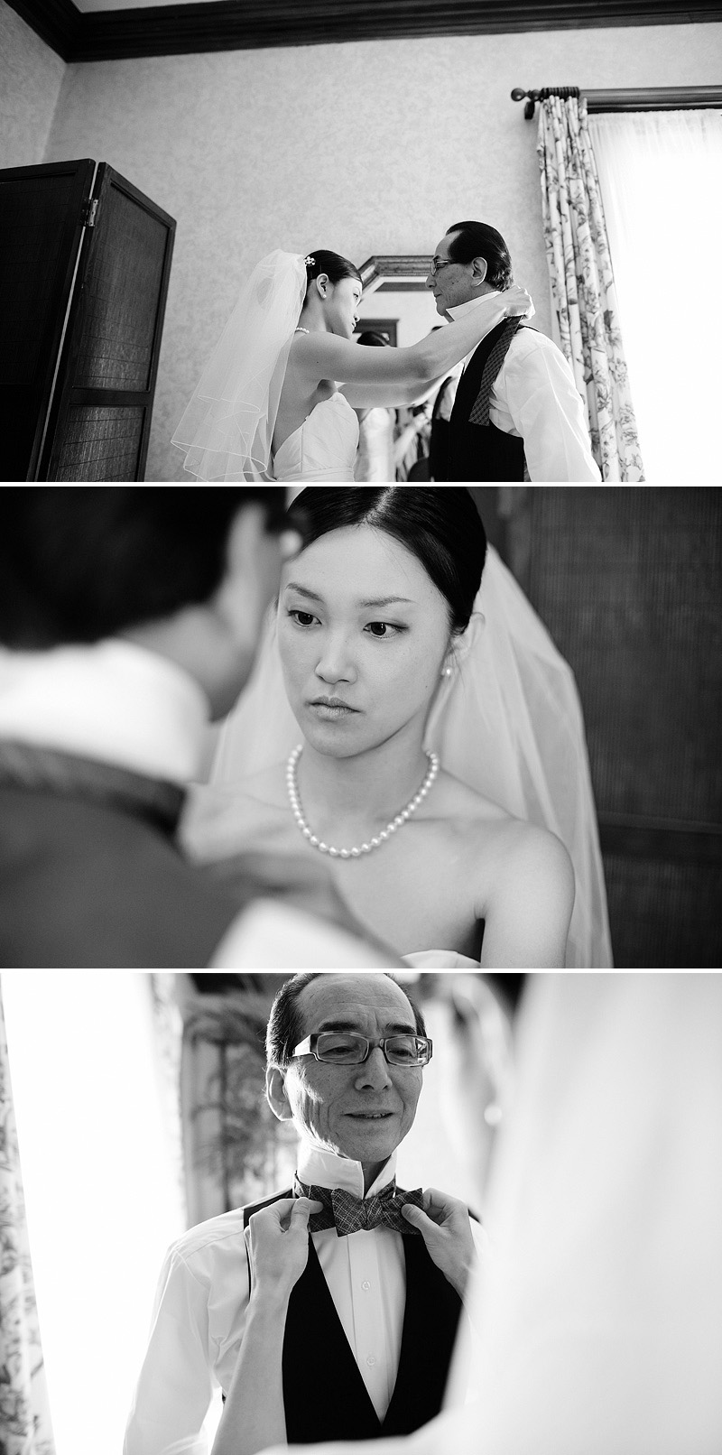 Bride putting her dad's bow tie on.