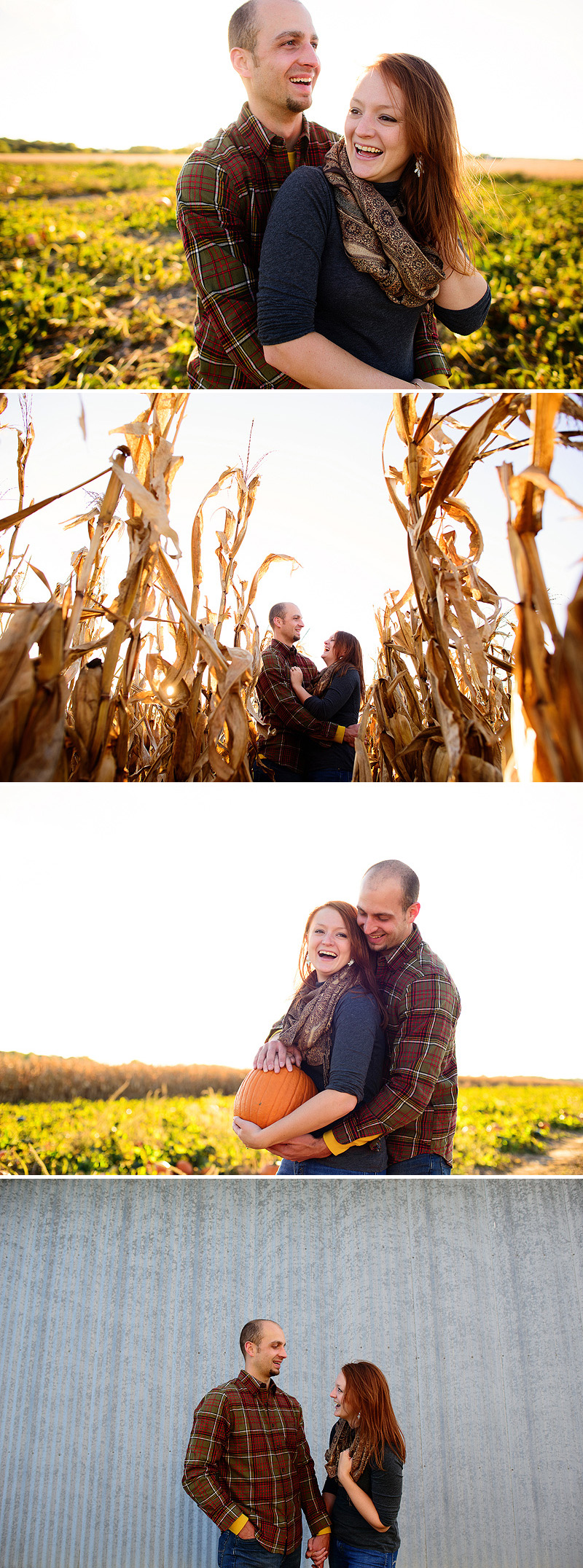 Fun fall engagement pictures at a pumpkin patch in Lawrence, Kansas.