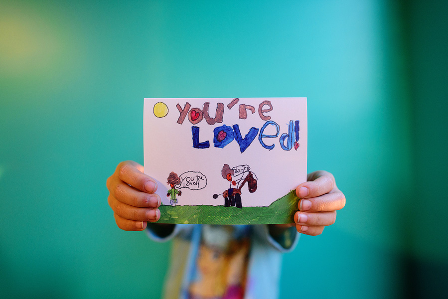 7 year old girl made a you are loved greeting card.