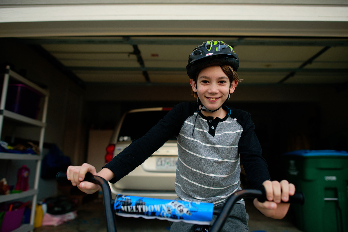 Boy ready for a bike ride.