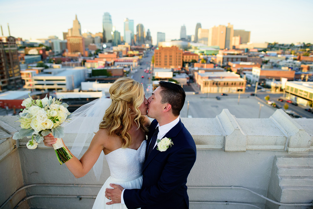 awesome bride and groom portrait in downtown kansas city