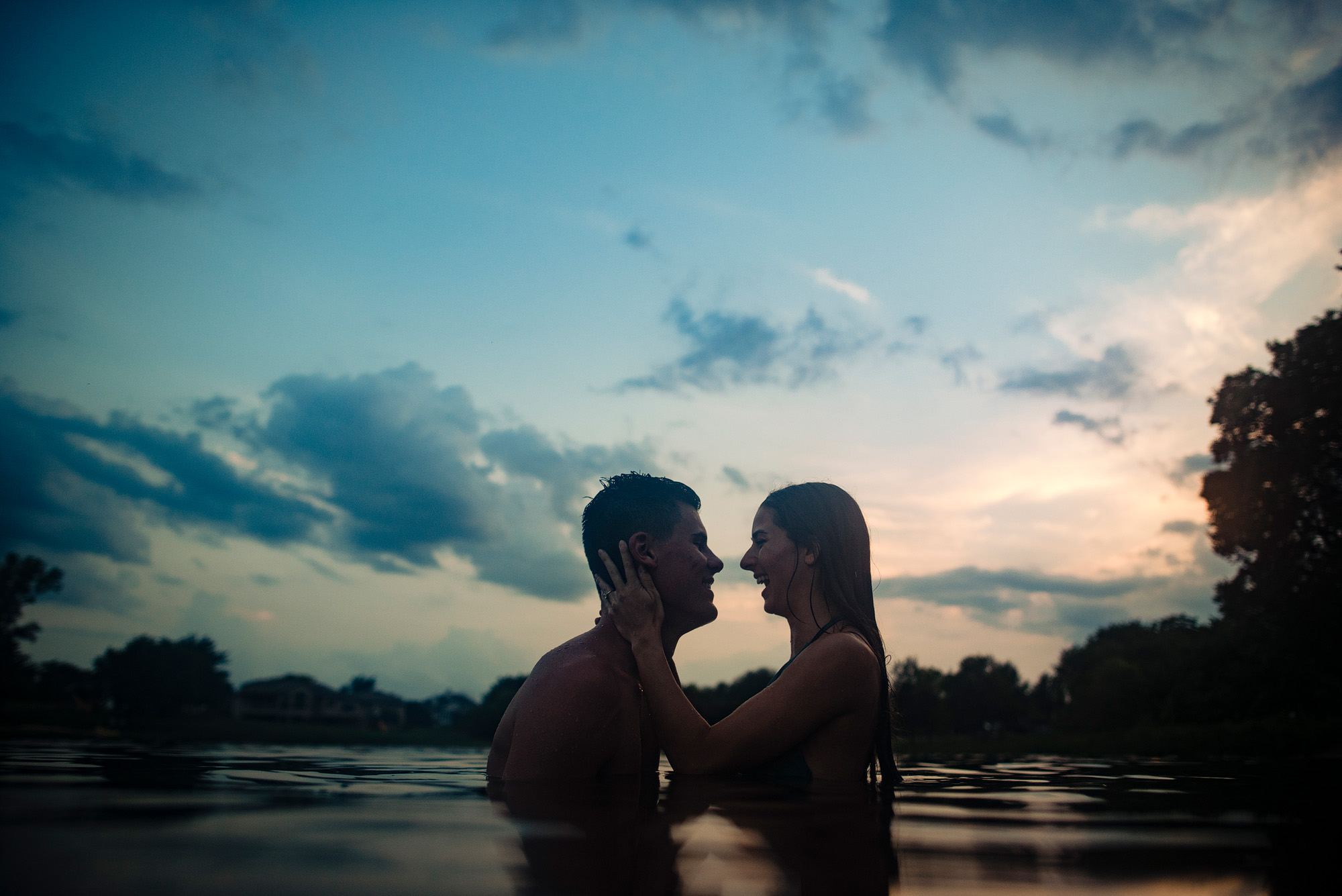 beautiful sunset picture of people in love