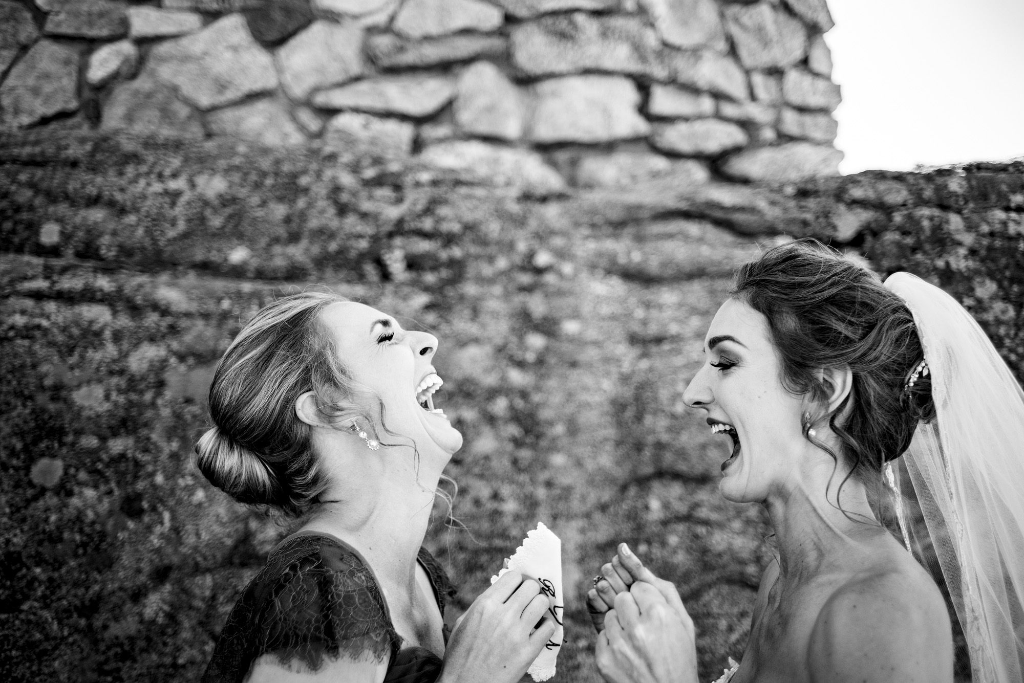 emotional sisters in estes park on a wedding day
