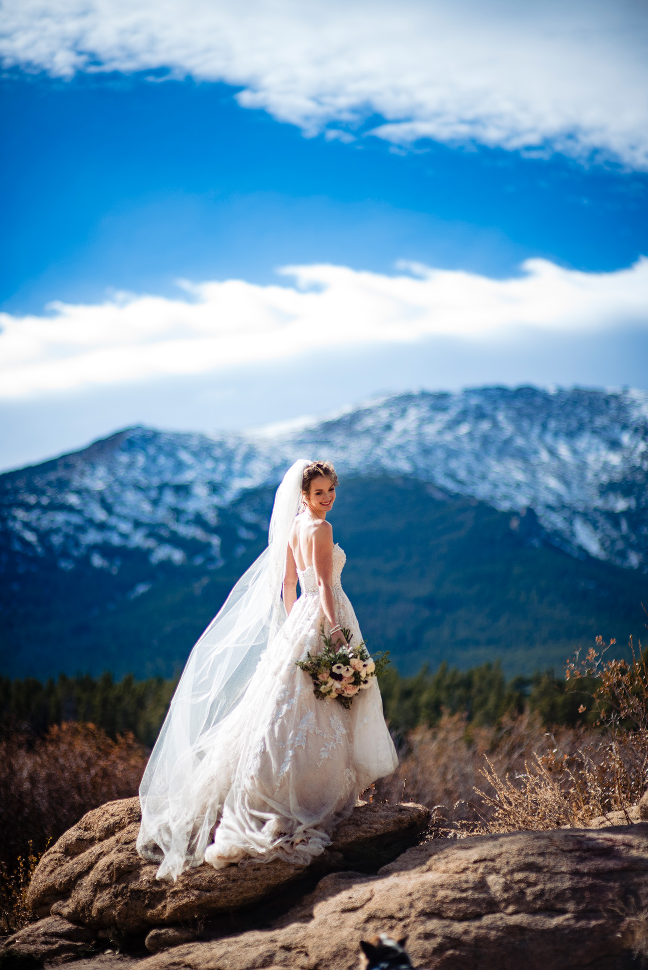 beautiful bridal portrait in estes park, colorado